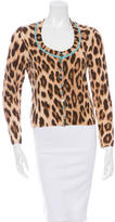 Blumarine Cheetah Print Scoop Neck Cardigan