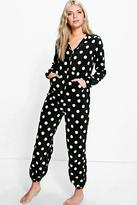 Boohoo Tilly Polka Dot Hooded Zip Up Fleece Onesie