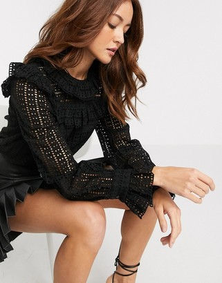 Y.A.S broderie top with ruffle detail in black