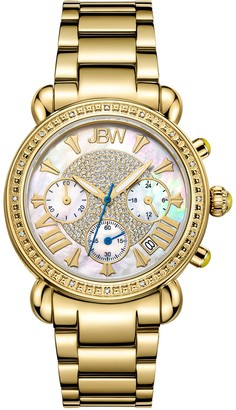 JBW Women's Victory 1/7 cttw Diamond 18K Gold-Plated Watch
