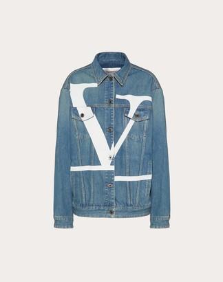 Valentino Deconstructed Vlogo Signature Blue Denim Jacket Women Blue Cotton 100% 38