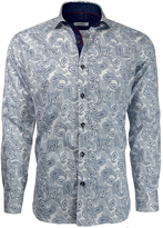 Navy & White Paisley Button-Up