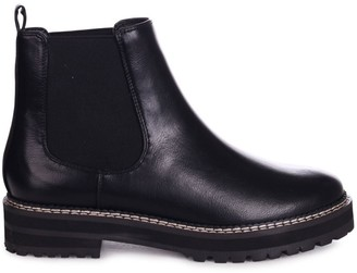 Linzi HAMPTON - Black Nappa Classic Chelsea Boot With White Stitching