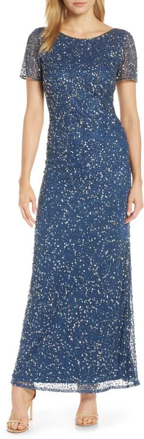 Pisarro Nights Short Sleeve Beaded Evening Dress