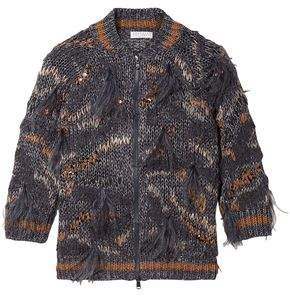 Brunello Cucinelli Feather And Sequin-embellished Metallic Cotton-blend Cardigan