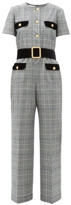 Gucci Prince Of Wales-checked Twill Jumpsuit - Womens - Grey Multi