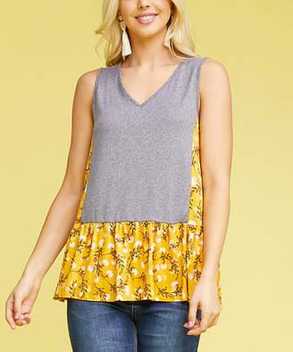 Doublju Women's Blouses HGREYMUSTARDFLORAL - Heather Gray & Mustard Contrast Ruffle-Hem Sleeveless Tunic - Women