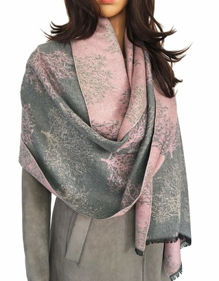 The Accessory Co. Women Mulberry Tree Blanket Scarf - Winter Scarfs Reversible Pashmina Shawl Women's scarves and wraps Ladies scarf thick blanket Warm Scarf large wrap Tree of Life Womens (Grey/Blush Pink)