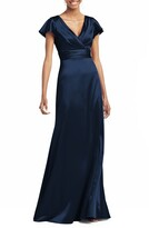 Social Bridesmaids V-Neck Satin Trumpet Gown