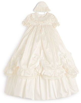 Sarah Louise Silk Bow Lace Christening Dress (3-12 Months)