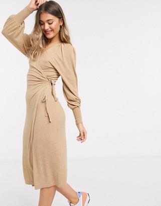 ASOS DESIGN wrap midi dress in camel