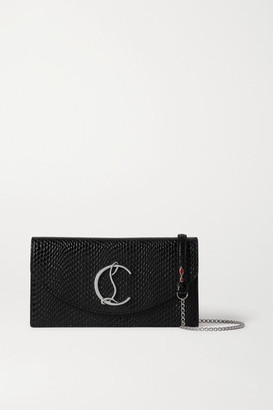 Christian Louboutin Loubi54 Lizard-effect Leather Clutch - Black