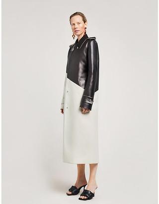 Bottega Veneta Loose-fit asymmetric-panel gabardine and leather coat