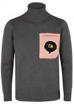 Fendi Grey Shearling-appliqué Wool Jumper