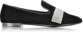 Giuseppe Zanotti Black Suede Loafer w/Crystals