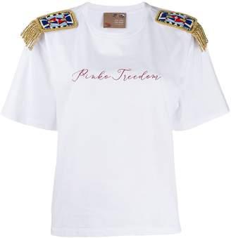 Pinko x Stella Jean x Treedom shoulder appliqué T-shirt