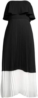 Aidan Mattox Strapless Popover Pleated Midi Dress