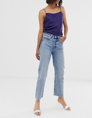 And other stories & straight leg jeans with raw hem in mid blue