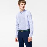 Paul Smith Men's Blue Contrast-Stripe Panel Band-Collar Shirt