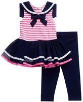 Youngland Baby Girl Striped Sailor TuTu Dress & Leggings Set
