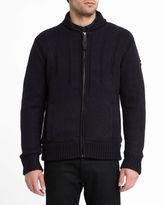 Schott NYC Navy Zipped Shawl Collar Sherpa Lining Cardigan