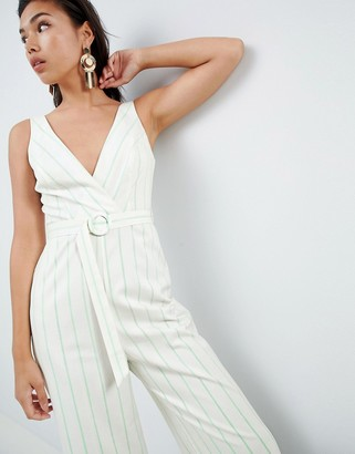 Asos Design DESIGN stripe print tux jumpsuit with wide leg and self belt-Multi