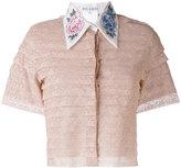 Melampo - embroidered peony cropped shirt - women - Silk/Cotton/Nylon/Spandex/Elastane - 42