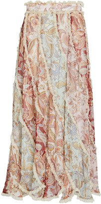 Zimmermann Ladybeetle Silk Floral Spliced Midi Skirt