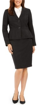 Le Suit Petite Pleated-Jacket Skirt Suit