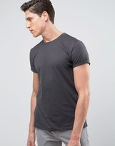 Asos T-Shirt With Crew Neck And Roll Sleeve In Black