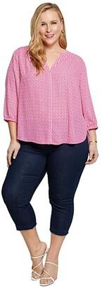 NYDJ Plus Size Plus Size Pintuck Blouse (Miami Geo) Women's Blouse