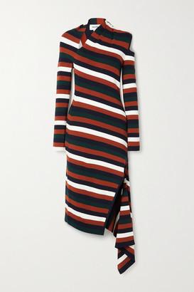 Monse Asymmetric Cutout Striped Wool-blend Midi Dress - Burgundy