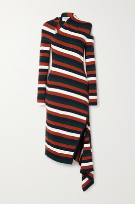 Monse Asymmetric Cutout Striped Wool-blend Midi Dress - Multi