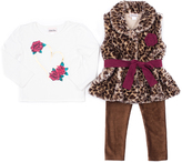 Little Lass Leopard Faux Fur Vest Set - Infant & Girls
