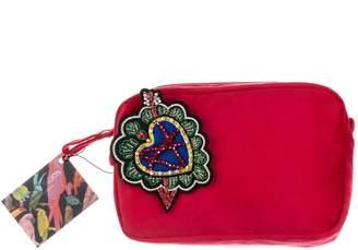 Red Velvet Bag With Colourful Heart Embellishment