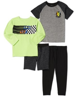 Garanimals Baby Boy & Toddler Boy Graphic Long sleeve & Short sleeve T-shirt, French Terry Short & Jogger Pant, 4 pc Outfit Set (12M-5T)