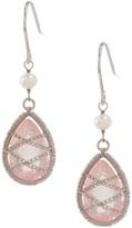 Candela Sterling Silver Rose Quartz & 4mm White Freshwater Pearl Drop Earrings