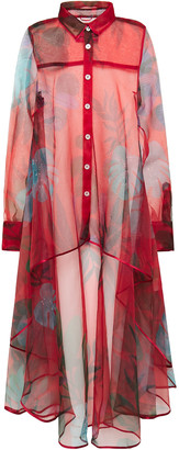 F.R.S For Restless Sleepers Zephyrus Asymmetric Printed Organza Shirt
