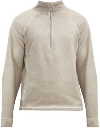 Folk Stand-collar Zipped Cotton-jersey Sweater - Light Grey