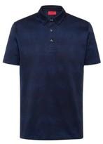 HUGO BOSS - Button Down Polo Shirt In Mercerized Cotton Jacquard - Dark Blue