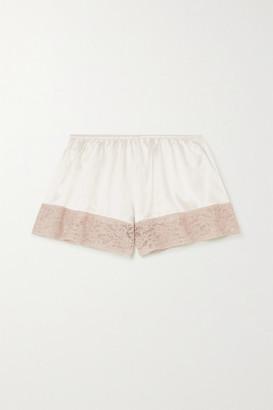 Loretta Caponi Lace-trimmed Silk-satin Pajama Shorts - Cream