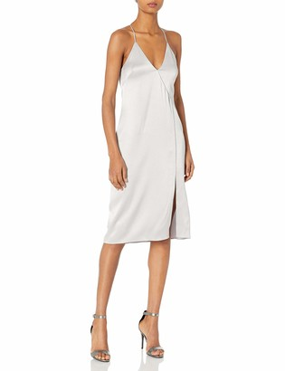 Halston Women's Sleeveless V Neck Cami Slip Dress with Cut Away