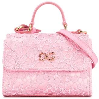 Dolce & Gabbana Kids lace DG shoulder bag