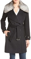 Andrew Marc Women's Genuine Rabbit Fur Trim Wool Blend Coat