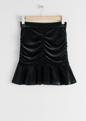 And other stories Gathered Velvet Ruffle Mini Skirt