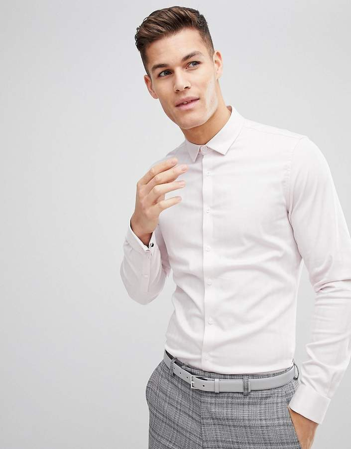 Asos Design Wedding Slim Herringbone Shirt With Double Cuff In Pink