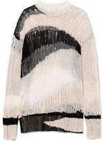 McQ Oversized Distressed Linen And Cotton-blend Sweater - Cream