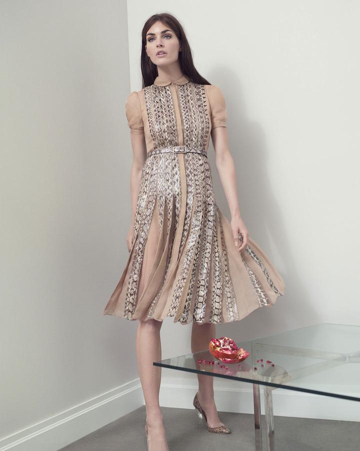 Valentino Snakeskin Pleated Dress, Beige
