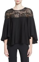Milly Angie Relaxed Sequined Tulle-Yoke Top, Black