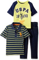 U.S. Polo Assn. Little Boys 3 Piece Short Sleeve Shirt Print and Denim Jean